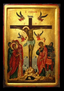 Golden Icon: Jesus crucified