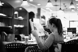 reading in coffee
